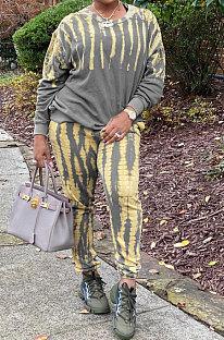 Fashion Casual Tie Dye Set Head Round Neck Sets LSN782