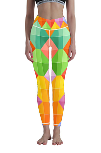 High Waist Geometric Pattern Yoga Nine Part Gym Pants 3D Digital Printing WT30007