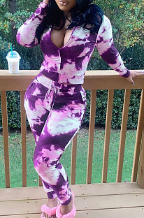 Tie Dye Printing Casual Long Sleeve Zipper Two-Piece LY609