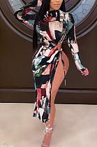Vestido comprido sexy manga comprida em volta do pescoço oco dividida bainha na cintura NRS8032