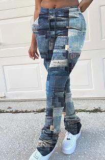 Casual Modest Waist Tie Ruffle High Waist Jeans YFS3618
