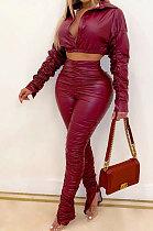 Fashion Casual PU Hide Shirred Detail Elastic Autumn Winter Two-Piece BS1243