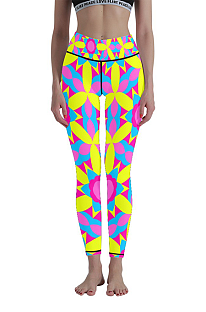 Casual Polyester Geometric Graphic High Waist Yoga Long Pants WT30014