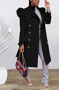 Casual Long Sleeve Lapel Neck Buttoned Longline Top Coats ED8334