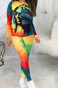 Tie Dye Letter Printing Multi Two-Piece BLE2207