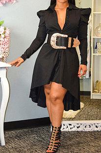 Платье с круглыми рукавами Комфортное платье-кардиган Платье-рубашка с длинным рукавом Платье с полной юбкой YY5242