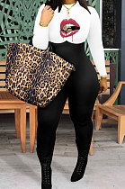 Fashion Womenswear Mouth Graphic Mid Waist Casual Jumpsuit WA7122
