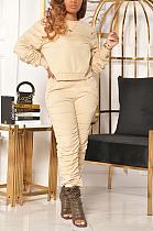 Autumn Winter Casual Long Sleeve Round Neck Ruffle Long Pants Sets MA6642
