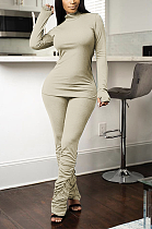 Casual Long Sleeve High Neck Spliced Shirred Detail Long Pants Sets HR8153