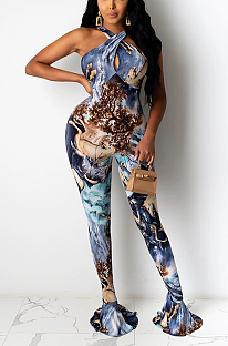 Sexy Polyester Spandex Pop Art Print Sleeveless Cold Shoulder Bodycon Jumpsuit XZ3660