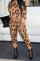 Moda feminina moda leopardo esporte casual calça comprida de duas peças WA7121