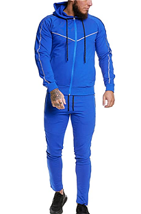 Casual Sporty Fitness Polyester Long Sleeve Waist Tie Long Pants Men's Sets TW125