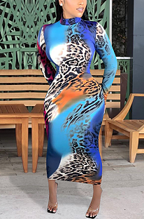 Sexy Leopard Long Sleeve Round Neck Long A Line Dress ED8335