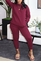 Casual Simplee Long Sleeve Round Neck Long Pants Sets MTY67777