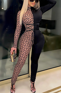 Sexy Mesh Long Sleeve Round Neck Hollow Out Bodycon Jumpsuit CCY8821