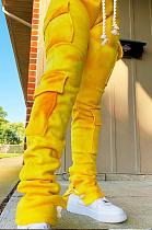 Calça comprida casual de poliéster com bolso liso na cintura HR8155