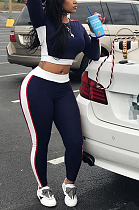 Casual Sporty Long Sleeve Round Neck Spliced Capris Pants Sets LD8076