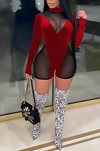 Night Out Sexy Polyester Mesh Long Sleeve Short Bodycon Jumpsuit XZ3743