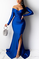 Night Out Sexy Long Sleeve Deep V Neck Off Shoulder Long Dress AL143