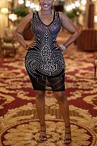 Sexy Mesh Geometric Graphic Sleeveless V Neck Spliced Mini Dress XZ3750
