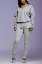 Casual Sporty Long Sleeve V Neck Zipper Hoodie Pants Sets HR8128