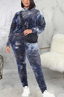Casual Sporty Tie Dye Long Sleeve Hoodie Long Pants Sets SMR9922
