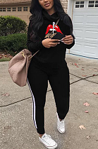 Casual Simplee Mouth Graphic Long Sleeve Hoodie Long Pants Sets LD9065