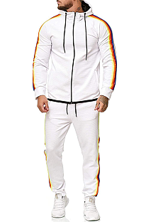 Casual Cotton Long Sleeve Spliced Slant Pocket Knotted Strap Hoodie Long Pants Men's Sets TW507
