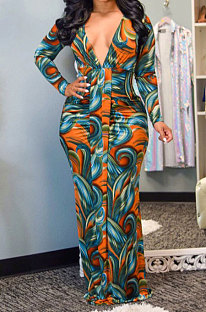 Sexy Woman Printing Dress Comfort Shirred Detail Long Dress YY5241