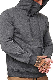 Casual Long Sleeve Face Mask Fluffing Men's Hoodie TW1900