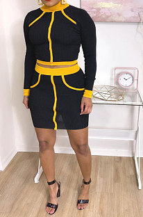 High Elastic Rib Long Sleeve Contrast Color Two-Piece YYZ522