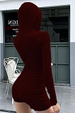 Womenswear Sexy Tight Yoga Long Sleeve Hooded Shorts Jumpsuits AMM8303