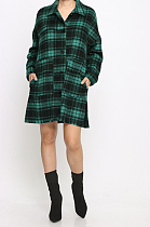 Casual Striped Plaid Long Sleeve Lapel Neck Slant Pocket Midi Dress F8314