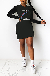Street Style Letter Long Sleeve Round Neck Mini Dress SH7232