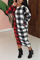 Elegant Gingham Round Neck Spliced Slant Pocket Long Dress SH7233