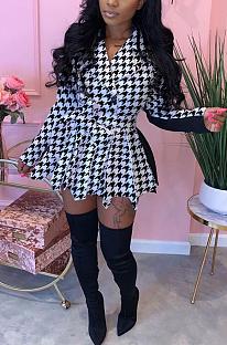 Casual Sexy Gingham Long Sleeve Lapel Neck Spliced Mini Dress YY5232