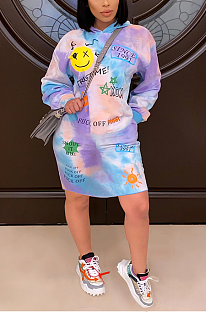 Casual Tie Dye Letter Cartoon Graphic Long Sleeve Hoodie Mini Dress SH7235