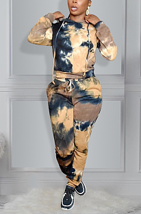 Casual Tie Dye Long Sleeve Waist Tie Hoodie Tee Top Long Pants Sets KK8236