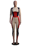 Street Style Casual Long Sleeve Round Neck Spliced Tee Top Pants Sets SY8787