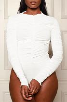 Сексуальный облегающий комбинезон с длинным рукавом и круглым вырезом с оборками WY6695