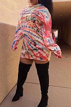 Tie Dye Printing Fashion Long Sleeve Round Neck Fleece Dress XMY031