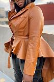 Elegante couro pu manga comprida irregular lapela pescoço cinto SDE1190