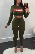 Sporty Sexy Polyester Letter Long Sleeve Hoodie Long Pants Sets ZS083