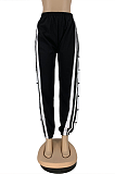 Sporty Polyester Buttoned Mid Waist Long Pants Straight Leg Pants DN8556