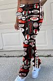 Calça comprida casual com mistura de algodão pop art estampada na cintura com gravata na cintura média CYY8055