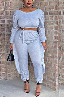 Casual Simplee Long Sleeve Round Neck Flounce Long Pants Sets TD5031