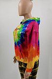 Moda feminina Upset Tie Dye Whirlpool Colorido Moda Solto Fleece Street Conjunto de Grafite Tops com capuz LBA1126