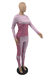 Sporty Long Sleeve Round Neck Spliced Capris Pants Sets TD5025