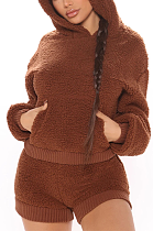 Casual Simplee Tweed Long Sleeve Spliced Hoodie Shorts Sets JZH8018