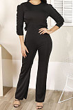 Sexy Falbala Halterneck Pure Color Long Sleeve Round Neck Jumpsuits N9264